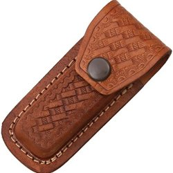 Sheath Folding Knife Sheath, Brown Leather W/ Embossed Basketweave, 3.5-4In Sh1131/Sh201 Brown