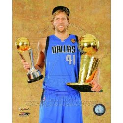 (11X14) Dirk Nowitzki With The 2011 Nba Championship & Mvp Trophies Game 6 Of The 2011 Nba Finals Glossy Photograph Photo