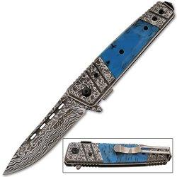 Etched Damascus Folding Knife (Blue)