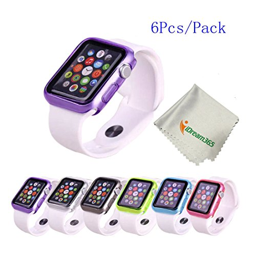 Apple-Watch-CaseiDream365-Apple-Watch-42mm-Case-6-Color-Combination-Pack-Protective-TPU-Case-for-Apple-Watch-42mm-2015-OnlyMicrofiber-Cloth