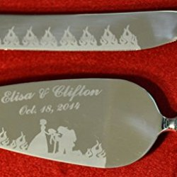 Flaming Fireman Engraved Waterford Wedding Cake Knife / Server Set Names And Date Free !