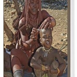 Canvas Print Of Himba Lady - Shaving Boys Head With Sheath Knife