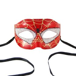 Renineic Unisex Mardi Gras Bead Glitter Half Face Eye Mask Classic Spider-Man
