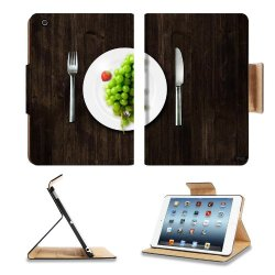 Green Grapes Fork Knife Dish Apple Ipad Mini Retina Display Flip Case Stand Smart Magnetic Cover Open Ports Customized Made To Order Support Ready Premium Deluxe Pu Leather 8 Inch (205Mm) X 5 1/2 Inch (140Mm) X 11/16 Inch (17Mm) Luxlady Ipad Mini Retina 2
