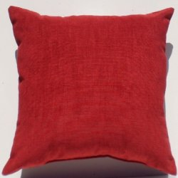 "Crinkle Weave Chenille Deep Cherry Red, 16""X16"" Decorative Throw Pillow; Fully Assembled And Stuffed In The U.S.A"