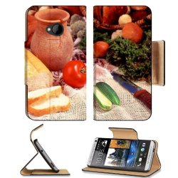 Cucumber Bread Tomato Baked Goods Herbs Knife Htc One M7 Flip Cover Case With Card Holder Customized Made To Order Support Ready Premium Deluxe Pu Leather 5 11/16 Inch (145Mm) X 2 15/16 Inch (75Mm) X 9/16 Inch (14Mm) Liil Htc One Professional Cases Access