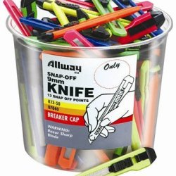 Allway Tools K13-50 50 Piece 9Mm Snap-Off Knife Bucket, Assorted Neon Colors (50 Pack)