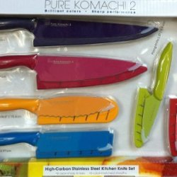 Pure Komachi 2 High Carbon Stainless Steel Kitchen 12 Piece Knife Set (6 Razor-Sharp Knives + 6 Color Matched Sheaths)