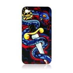 Fashion By Cellallure Snap-On With Blue Snacke And Dagger With Skull For Iphone 4G - Black