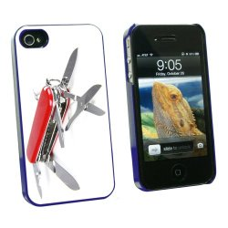 Graphics And More Multi-Function Knife Screwdriver - Snap On Hard Protective Case For Apple Iphone 4 4S - Blue - Carrying Case - Non-Retail Packaging - Blue