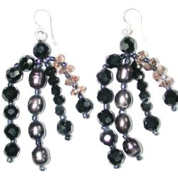 Handmade Fresh Water Pearl, Black Onyx & Smokey Quartz Beaded Wire Earrings