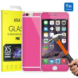 """Iphone 6 Colorful Screen Protector [Tempered Glass] Hot Pink, Utlk Fully Body Colored Tempered Glass Body Sticker 2.5D Round Edge 9H Hardness Full Body Premium Tempered Glass Screen Protector For Iphone 6 4.7 Inch (I6 4.7"""" Rose)"""