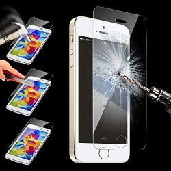 Highest Quality Scratch Proof - Impact Resistant Premium Hd High Definition Tempered Glass Screen Protector For Iphone 5/5S/5C- Anti-Fingerprint Ultra Slim 0.2Mm Lcd Film Guard (Rounded Edges)