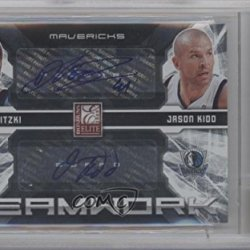 Dirk Nowitzki, Jason Kidd Bgs Graded 9 #25/50 Dallas Mavericks (Basketball Card) 2009-10 Donruss Elite Teamwork Combos Dual Autographs [Autographed] #6