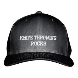 Knife Throwing Rocks Sport Embroidered Adjustable Structured Hat Cap Black