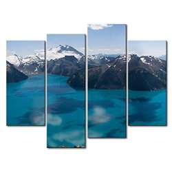 Blue 4 Panel Wall Art Painting Garibaldi Lake Canada Snow Mountain Pictures Prints On Canvas Landscape The Picture Decor Oil For Home Modern Decoration Print For Kitchen