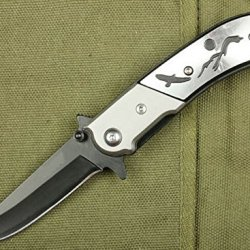 Rescue Silver Pocket Folding Strap Holder Knife Handle With Eagle Glby-6.88''