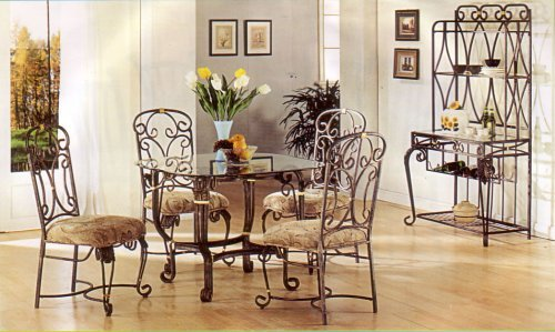 Image of Beautiful Glass Top Table And Cushioned Chairs Set (VF_AZ02-14273--1)