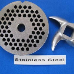 "#12 X 3/16"" Set Meat Grinder Grinding Plate And Knife For Hobart Lem Cabelas Mtn Torrey Etc. *Stainless Steel*"