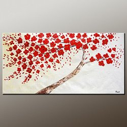 Knife Painting Collect Unframed Painting On Canvas Palette Knife Red Petal 10X20 In/25X50Cm