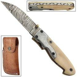 Frontier Gambler Damascus Steel Folding Knife
