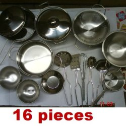 16Pcs Mini Small Size Stainless Steel Kid Toy Kitchen Metal Pot Pan Cookware Pretend Play Set