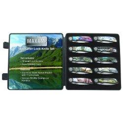 New Maxam 10Pc Liner Lock Knife Set