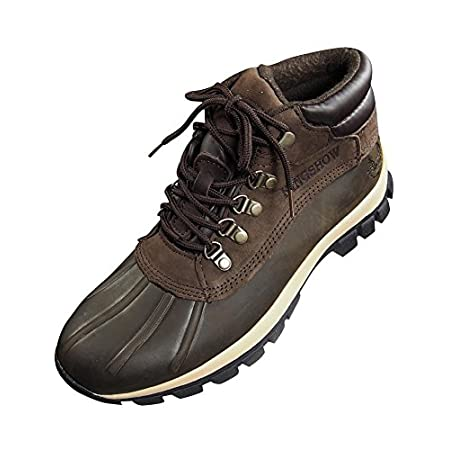 Kingshow - Mens Warm Waterproof Winter Leather High Height Snow Boot, Brown, Premium Genuine Leather, 100% Waterproof, Padded Tongue and Collar, Lined with Cushion Insole that is Warm and Breathable, Adjustable Lace up Closure, Lightweight, Strong, W...