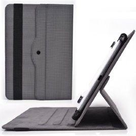 Asus-ZenPad-10-Acer-Iconia-Tab-10-Rotating-Cases-Grey-Carbon-Universal-Tablet-Cover-101-Built-in-Stand