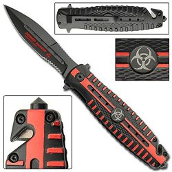 Quarantine Red Zone Zombie Slayer Crew Tactical Pocket Glass Breaker Belt Cutter Emergency Knife