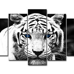 Black & White 5 Piece Wall Art Painting Blue Eyed Tiger Prints On Canvas The Picture Animal Pictures Oil For Home Modern Decoration Print Decor For Kitchen