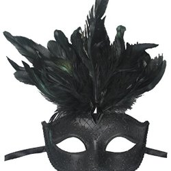 Redskytrader Womens Feathered Venetian Mask One Size Fits Most Black