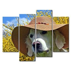 4 Panel Wall Art Painting Golden Retriever With A Summer Hat Pictures Prints On Canvas Animal The Picture Decor Oil For Home Modern Decoration Print For Girls Bedroom