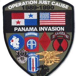 "Large 5"" X 6"" Embroidered ""Highly Detailed"" Operation Just Cause Patch (Panama Invasion 1989-1990) Wax Backing With Merrowed Edges"