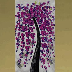 Xm Art-Blessing Of Purple Tree Palette Knife Landscape Oil Painting On Canvas Wall Art Deco Home Decoration(Unstretch And No Frame)