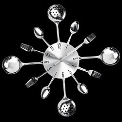 Wawa Funky Silver Colour Cutlery Wall Clock Knife And Spoon Design Wall Decoration