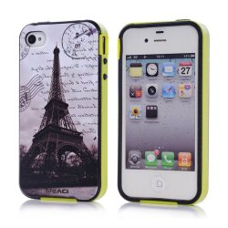 Meaci Apple Iphone 4 4S Case Combo Hybrid Smooth Hard Tpu Material With Pattern (Eiffel)