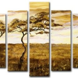 Sangu 100% Hand-Painted Hot Selling 5-Piece Divine Plains Africa Oil Painting Gift Canvas Wall Art