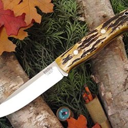 Bark River Aurora Fixed Blade Knife,4.5In,A-2 Tool Steel Blade,Antique Stag Bone Handle 140Bass