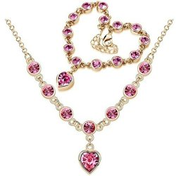 Chariot Trading - Cs184 Fashion 2014 New Heart Rhinestone Austrian Crystal Necklace Bracelets Set ( Color : Gold Rose Red )