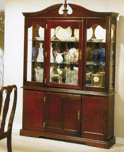Image of China Cabinet Buffet Hutch - Queen Anne Cherry Finish (VF_F6052)