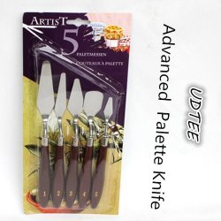 Udtee 5Pcs Portable/High-Quality Stainless Steel Blades With Brown Wood Handles Painting/ Palette Knife Set Of Uneven Size