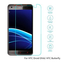 Htc Droid Dna Screen Protector, Boriyuan [Tempered Glass Protection] Ultra Slim Crystal Clear Premium Tempered Glass Screen Protector For Htc Droid Dna/ Htc Butterfly Smartphone - Brand New In Retail Package, Comes With A Micro Fiber Cleaning Cloth + An A