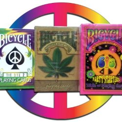 Lot 4 Hippie Bicycle Decks Tye Die 2, Hemp, 60'S Deck Hippy Playing Cards, And Pocket Calculator