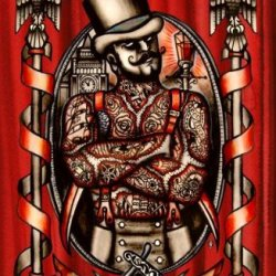 Jack The Knife By Leighderhosen Ripper Serial Killer Tattoo Canvas Art Print