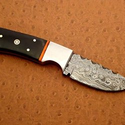 Custom Handmade Damascus Steel Hunting Knife,Mosaic Pin,Buffalo Horn