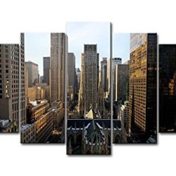 5 Piece Wall Art Painting New York City High-Rise Building Pictures Prints On Canvas City The Picture Decor Oil For Home Modern Decoration Print For Bedroom