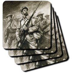 Cst_83186_2 Danita Delimont - Engravings - World War (1914-1918). Soldiers With Bayonets. Engraving - Hi13 Pri0394 - Prisma - Coasters - Set Of 8 Coasters - Soft