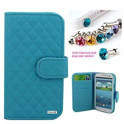 Cocoz® Samsung Galaxy S3 Colorful Mesh Leather Case Pu Leather Wallet Magnet There Are Card Slot Design ,For Samsung Galaxys3/I9300/Galaxy Siii (Sky Blue)