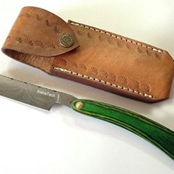Sally Straight Razors Damascus Steel Blade Wood Handle